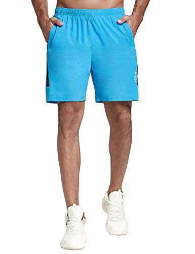 KPSUN Men's Workout Running Shorts Quick Dry Lightweight Gym Athletic UPF 50+ Hiking Shorts with Liner Zipper Pockets(Solid Blue,XXL)