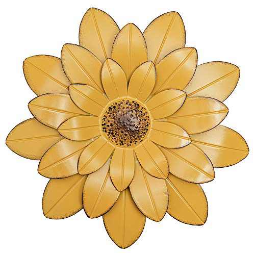 HOGARDECK Metal Flower Wall Decor - 13'' Outdoor Wall Art Backyard Decorations Hanging for Kitchen, Living Room, Bathroom (yellow-01)