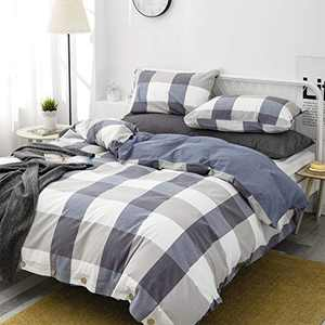 TEWENE Duvet Cover Twin Size, 3 Piece Comforter Cover Set Includes 2 Pillow Shams,100% Washed Cotton Ultra Soft Microfiber Bedding Set with Button Closure & Corner Ties(Blue White Plaid,Twin)
