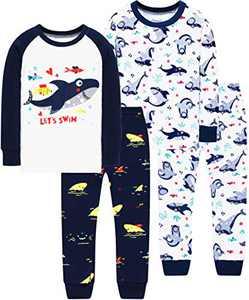 Boys Christmas Shark Pajamas Children Cotton Jammies Toddler Kids Long Sleeve Sleepwear For Girls Size 7