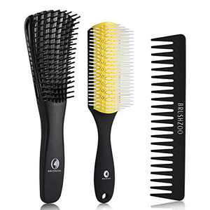 O BRUSHZOO Detangling Brush for Curly Hair, Detangler Brush for Black Natural Hair, Detangle Brush for Women Men or Kids 3/4abc Hair, Easier and Faster Detangling on Cury,Coily, Wavy (Yellow)