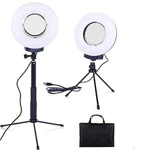 """8"""" Dimmable Ring Light Selfie Live Stream Continuous Output Lighting Mirror&Phone Holder for Makeup Photography LED Ring Lamp Outdoor Camera Photo Video 3 Color Lighting Mode Kit (5W~10W)"""