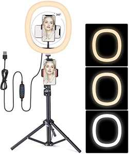 Ring Light with Stand,FDTEK 12 inch Selfie Dimmable LED Ring Light with Tripod Stand and Phone Holder for Video Recording, Makeup, Live Stream, Photography, Compatible with iPhone Android Phone, Oval