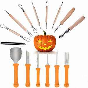 QUERLY 15PCS Halloween Pumpkin Carving Tools Set Knife Halloween Professional Pumpkin Carving Tools Kit DIY Jack-O-Lantern Stainless Steel Knife Set Halloween Party Decoration Choice (Orange)