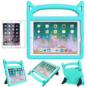 "MOXOTEK Kids Case for iPad 9.7"" 2017 2018 / Air 1/2 / Pro 9.7, iPad 5th/6th Generation Case, Cute Durable Shockproof Protective Handle Stand Bumper Case with Screen Protector, Teal"