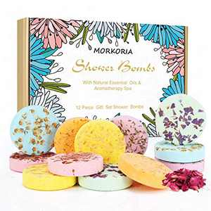 MORKORIA Shower Bombs Aromatherapy Gift Set-12pcs Shower Steamers -Bath Bombs-Fizzing Bombs-Vapor Tablet with Natural Essential Oils for Stress Relief-Birthday Gifts for Mom and Wife