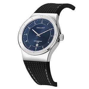 Men's Watch Swiss Quartz Watch Stainless Steel Wrist Watch for Men with Calendar 5ATM Waterproof Silicone Strap Mens Watch 40mm Silver Elegant Classic, Blue