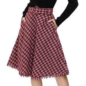 Womens A-Line Plaid Winter Warm Skirt Tartan High Waist Skirt with Belt(Red,S)