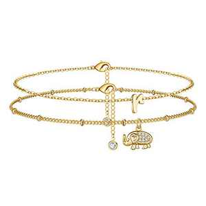 Yoosteel Initial Elephant Ankle Bracelets for Women, 14K Gold Filled Layered Anklet Beach Style Summer Ankle Initial Bracelets for Women Anklet with Initials R