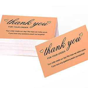 "Thank You For Your Order Cards, Bulk Kraft Postcards Purchase Inserts to Support Small Business Customer Shopping (Business Card Sized 2""x3.5"") 120 Sheets for Online, Retail Store, Handmade Goods"