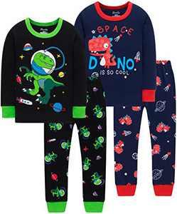Boys Dinosaurs Pajamas Children Cotton Spacecraft Pjs Toddler Kids Cotton Sleepwear Pants Set Size 5