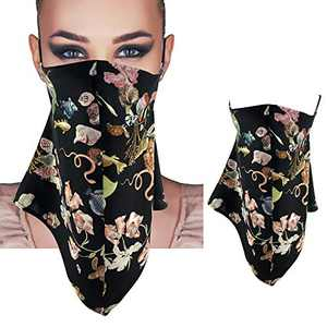 Face Cover with Ear Loops 100% Reusable Mulberry Silk Bandana, Neck Gaiter Cover Scarf for Dust Wind Motorcycle
