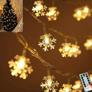 Darknessbreak Christmas Snowflake String Lights ,25ft 50 LED Battery-Operated Snowflake String Lights for Christmas Tree,Holiday Decor,Outdoor Patio, Fire Place,Play House,Kids Tent .