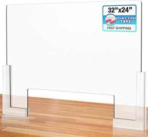"""Counter Desk Sneeze Guard Plexiglass Shield Barrier with Adhesive Feet for Coughing, Sneezing, Droplets - Acrylic Screen Divider Panel- 32"""" x 24"""""""