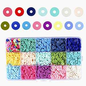 3600PCS 6mm Disc heishi Beads Handmade Polymer Clay Spacer Beads for Earring Bracelet Necklace Jewelry DIY Craft Making (15color)