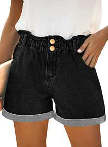 onlypuff Black Denim Shorts for Women Rolled Elastic Waist Casual Shorts with Pockets S
