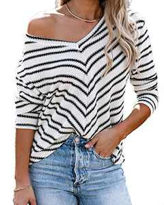 Womens Casual Sweaters Off Shoulder Waffle Knit Tops V Neck Long Sleeve Striped Oversized Jumper Top Black L