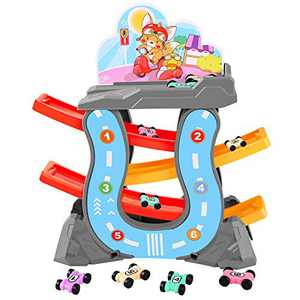 DeXop Car Ramp Racer Toddler Toys for 1 2 3 Year Old Boy and Girl Gifts, Race Track with 6 Mini Cars