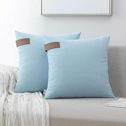 NordECO HOME Set of 2 Throw Pillow Covers - 100% Cotton Soft Decorative Cushion Covers for Bed Home Decoration, 18 x 18, Light Blue