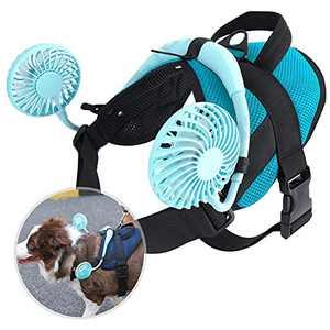 Dog Cooling Vest Fan Cooling Jacket Cooler Dog Fan Cooling Vest Harness Adjustable Pet Harness with Colorful Led Light, USB Charging for Outdoor Hunting Training & Camping, Summer(Blue)(L)