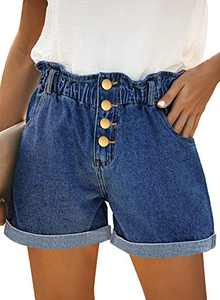onlypuff Blue High Waist Ripped Jean Shorts Pockets Vintage Denim Shorts for Women S