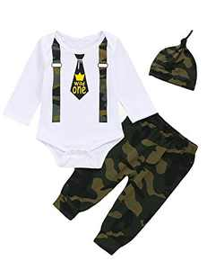 Shalofer Baby Boy Wild One Bodysuit Toddler First Birthday Outfit Set (Camouflage01,12-18 Months)