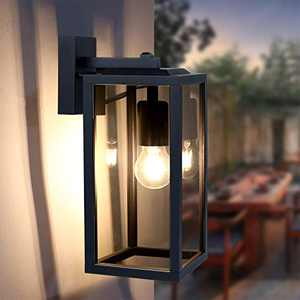 """HFVLITE Outdoor Light Fixture Wall Mount, Max 60W E26 Aluminum Outside/Indoor Wall Lantern Lamp, Waterproof 14"""" Glass Shade Exterior Wall Sconce for Porch Patio Entryway Doorway Garage, Matte Black"""