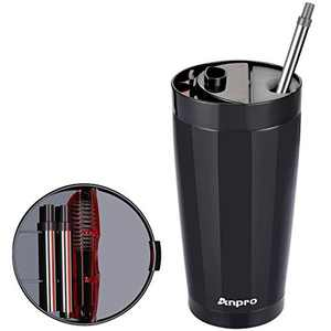 20oz Insulated Tumbler Cup with Straw - Anpro Stainless Steel Coffee Travel Mug with Lid and Telescopic Straws & Brush, Vacuum Double Wall Bottle, Black