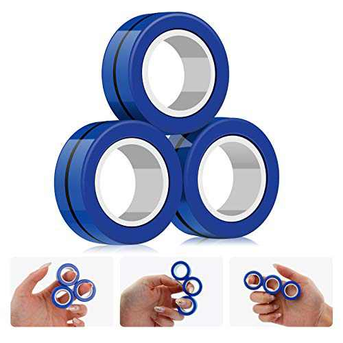 Magnetic Rings Toys - Finger Magnetic Ring Stress Anxiety Decompression Toys,Hand Spinners Fidget Toy,Stress Relief Reducer Ring for Adults Children, Finger Toy Focus Fidgeting Restless