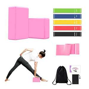 MIZIKUSON 11Pcs Yoga Blocks Set Beginner Equipment, Exercise Resistance Bands, Long Stretch Yoga Strap, Eva Non-Slip Foam Yoga Block 2 Pack with Instruction Book for Yoga, Pilates, Stretchings