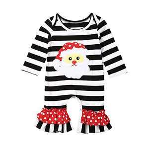 hujukuludusu Christmas Newborn Baby Girls Jumpsuit Cute Long Sleeve Ruffle Bell-Bottom Romper Bodysuit (One-Piece Flared Romper-Santa, 12-18 Months)