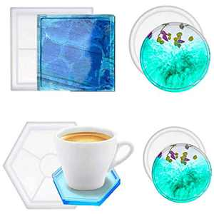 Coaster Molds for Resin Casting, Yokgrasss 4pcs Silicone Resin Mold, Square Hexagon Circle Molds Resin Kit for Making Faux Agate Slices, Coasters, Home Decoration