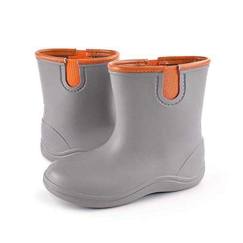 Z J HE HE Z J HE HE Boys Girls Ultra Lightweight Rain Boots, Toddler/Little Kids Waterproof Water EVA Rain Footwear with Comfort Insole, Outdoor Rainning Mudoots Solid Color Grey