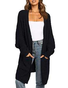TARSE Womens Long Oversized Sweaters Waffle Open Front Knit Cardigans with Pockets, Batwing Sleeve, Black, S