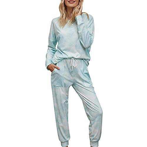 Womens Pajama Set Long Sleeve Soft Shirt and Pants 2 Piece Sleepwear Pjs Green