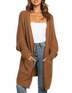 TARSE Womens Oversized Cardigan Waffle Open Front Knit Long Sweater with Pockets, Batwing Sleeve, Rust Brown, M
