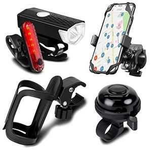 SODPE 5 Pack Bicycle Accessories, Bike Light Set USB Rechargeable, 1 Bike Water Bottle Holder, 1 Pack Silicone Bike Phone Mount and 1 Bike Aluminum Bicycle Bell (2 USB Cables and Straps Included)