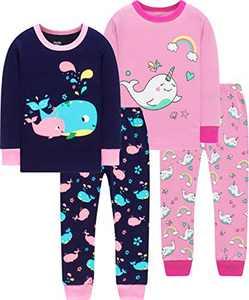 Little Girls Unicorn Dolphin Pajamas Christmas Children School Pjs Kids Cotton Sleepwear Size 3