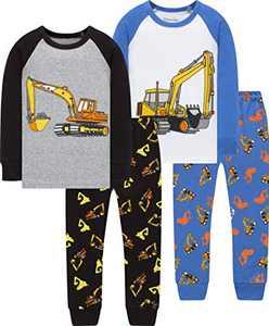 Boys Truck Pajamas Christmas Kids Cotton Pjs Children Excavator Cute Sleepwear Size 8