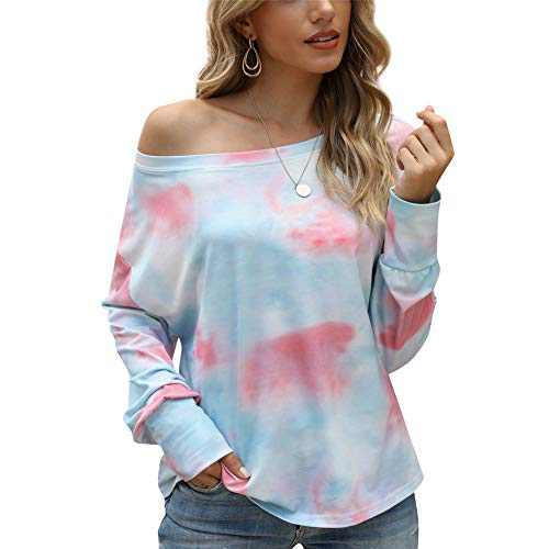 Women's Tie Dye Printed Long Sleeve Sweatshirt Casual Loose Cute Soft Pullover Tops Shirts Blue