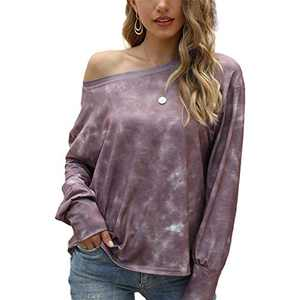 Women's Tie Dye Printed Long Sleeve Sweatshirt Casual Loose Cute Soft Pullover Tops Shirts Brown