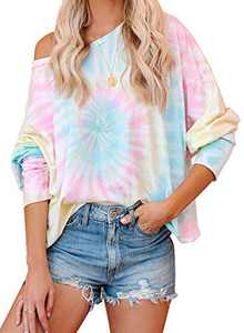 Women's Tie Dye Printed Long Sleeve Sweatshirt Casual Loose Cute Soft Pullover Tops Shirts Light Blue