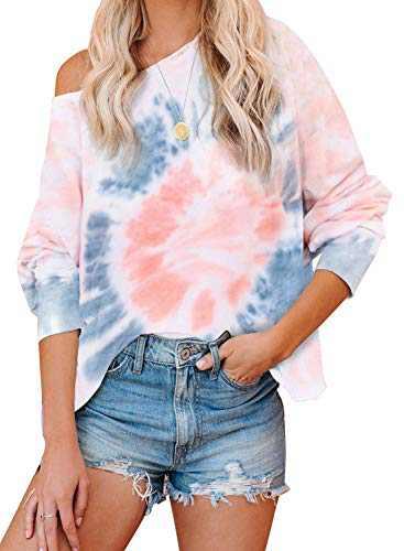 Women's Tie Dye Printed Long Sleeve Sweatshirt Casual Loose Cute Soft Pullover Tops Shirts Pink