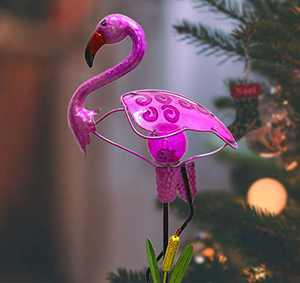CYA-DÉCOR Garden Solar Lights Outdoor Decorations, Flamingo Crackle Glass Ball Metal Garden Stake Decorative Light for Pathway, 37.40 Inches Height Waterproof Garden/Yard/Lawan Decorative
