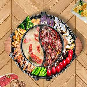 Electric Grill Hot Pot Smokeless, 2 in 1 2200W 3.5L Hot Pot Barbecue Grill Non-Stick Pan Indoor barbecue oven 2-10 people