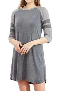 cindyouth Women's Nightgown, Loose Comfy Cotton Raglan Sleepshirts 3/4 Sleeve Boyfriend Style Lounge Dress Sleepwear S-XXL Grey