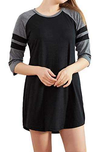 cindyouth Women's Nightgown, Loose Comfy Cotton Raglan Sleepshirts 3/4 Sleeve Boyfriend Style Lounge Dress Sleepwear S-XXL Black