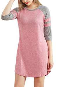 cindyouth Women's Nightgown, Loose Comfy Cotton Raglan Sleepshirts 3/4 Sleeve Boyfriend Style Lounge Dress Sleepwear S-XXL Pink
