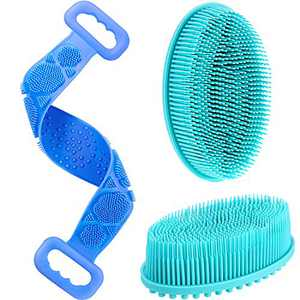3 Pieces Back Scrubber Exfoliating Silicone Body Scrubber Hair Scalp Massager Brush Silicone Bristle Head Massager Silicone Bath Shower Loofah Brush for Shower Bathroom