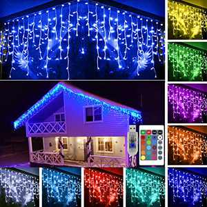 KNONEW 16 Colors Changing Icicle Light 16ft 160 LED Lights with Remote, USB Powered Fairy Icicle String Lights for Christmas Birthday Wedding Party Outdoor Indoor Holiday Decoration (Not Include Plug)